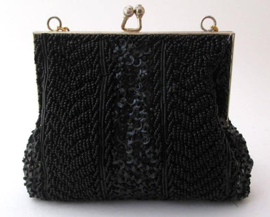 Vintage 1960s Black Bead Bag Sequin Purse