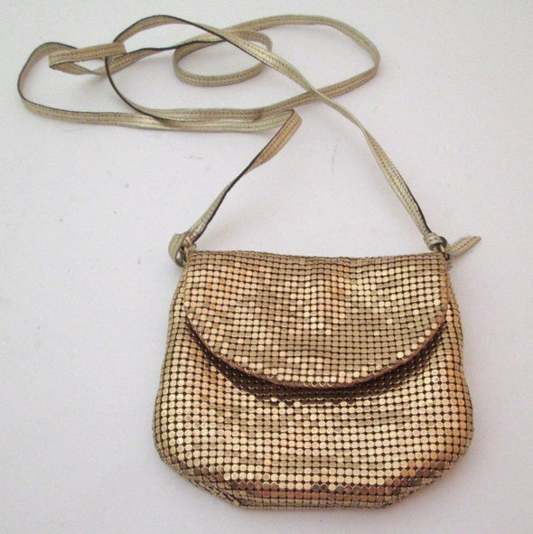 Whiting and Davis Small Gold Metallic bag coin purse, vintage 1970s chain mail gold mesh shoulder bag cross body bag