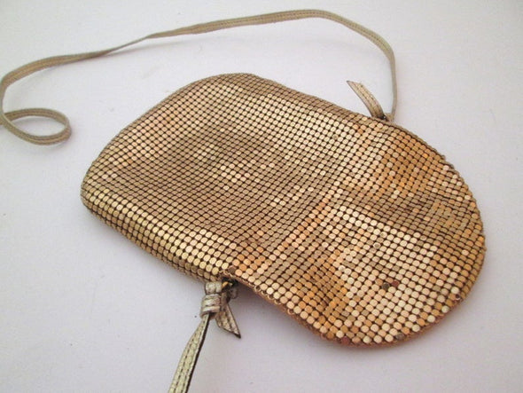 Whiting and Davis Small Gold Metallic bag coin purse, vintage 1970s chain mail gold mesh shoulder bag cross body bag - Late Boomer Vintage