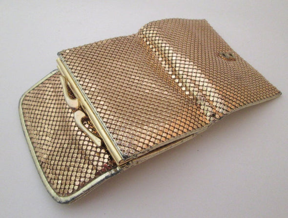 Vintage Whiting and Davis Gold Mesh Coin Purse Wallet - Late Boomer Vintage