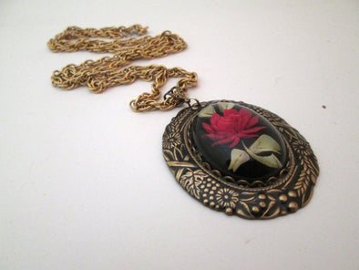 Lucite Red Rose Pendant Brass Chain Vintage Layering Long Necklace OOAK colored resin jewelry - Late Boomer Vintage