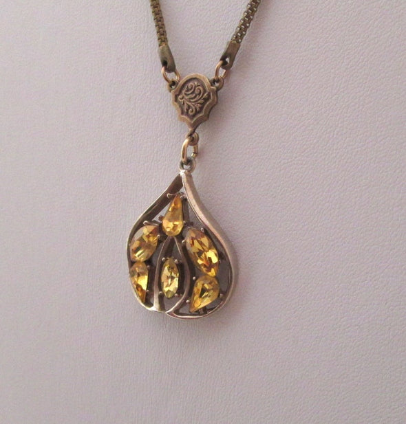 Vintage Yellow Rhinestone Jeray Pendant Layering Necklace OOAK Artisan long brass chain Jeray earring - Late Boomer Vintage