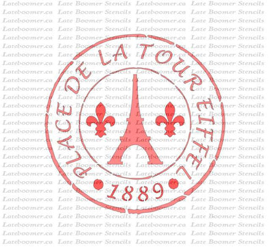 French Stamp Eiffel Tower Stencil, Paris France reusable painting mylar stencil