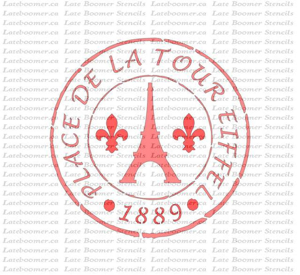 French Stamp Eiffel Tower Stencil, Paris France reusable painting mylar stencil - Late Boomer Vintage