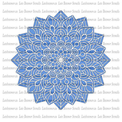 Mandala Flower round circle reusable Mylar painting stencil, Mandala Stencil crystal grid - Late Boomer Vintage
