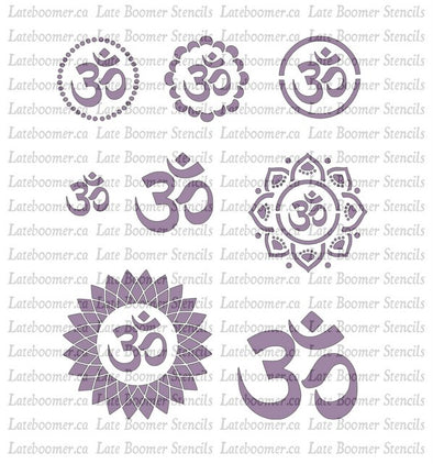 Om Stencils for painting, small om symbol Mylar stencil, reusable airbrush ohm stencil - Late Boomer Vintage