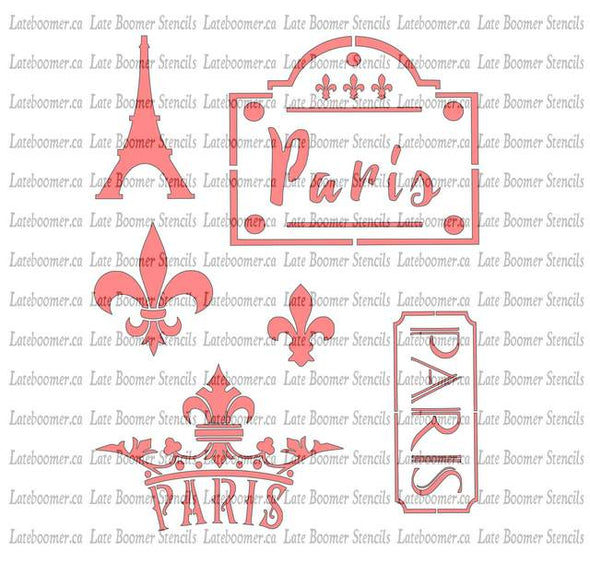 Paris France Mylar Stencil, Fleur de Lis Crown French Street Sign Painting Stencil - Late Boomer Vintage