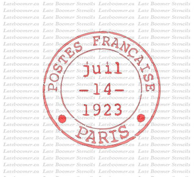 French Postmark Stamp Reusable Mylar Painting Stencil, Paris France stencil
