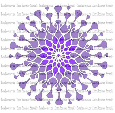 Mandala Passion Flower Reusable Mylar Craft Stencil, retro flower power painting stencil for airbrushing - Late Boomer Vintage