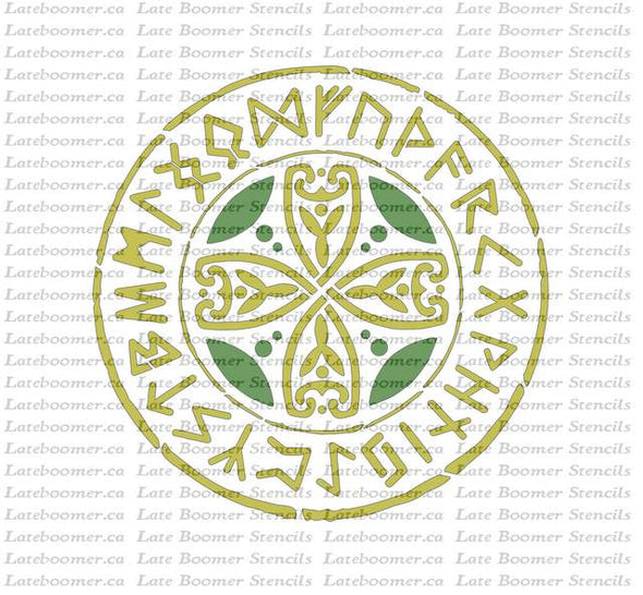 Celtic Circle Runes Stencil ancient pagan symbol art, reusable mylar painting stencil for craft projects - Late Boomer Vintage