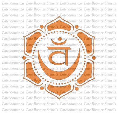 Sacral Chakra reusable Mylar Painting Stencil, Yoga Chakra Symbol Swadhisthana craft stencil - Late Boomer Vintage