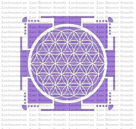 Sri Yantra Flower Of Life Stencil, Sacred Geometry Ancient Symbols Mylar painting Stencil - Late Boomer Vintage