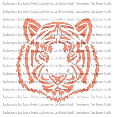 Tiger Face Stencil reusable mylar painting stencil tribal tiger head chinese zodiac asian tiger siberian - Late Boomer Vintage