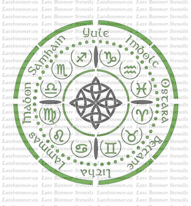 Wheel of the Year Stencil, Zodiac Symbols seasons circle reusable mylar painting stencil, 12 Zodiac Signs, Astrology Stencil