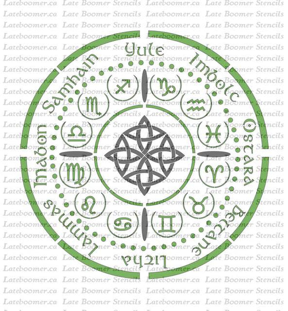 Wheel of the Year Stencil, Zodiac Symbols seasons circle reusable mylar painting stencil, 12 Zodiac Signs, Astrology Stencil - Late Boomer