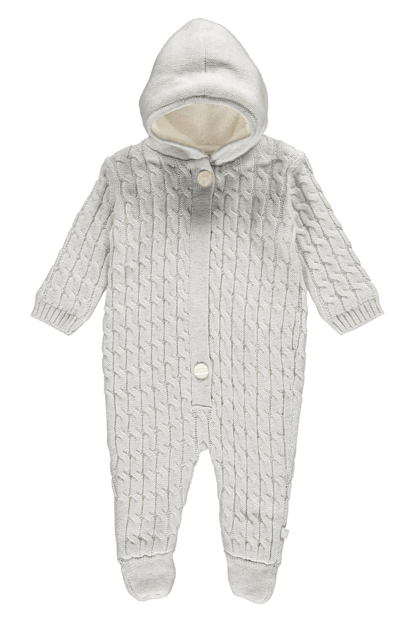 Soft Grey Lined Knitted Pramsuit