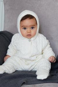 Cream Lined Knitted Pramsuit