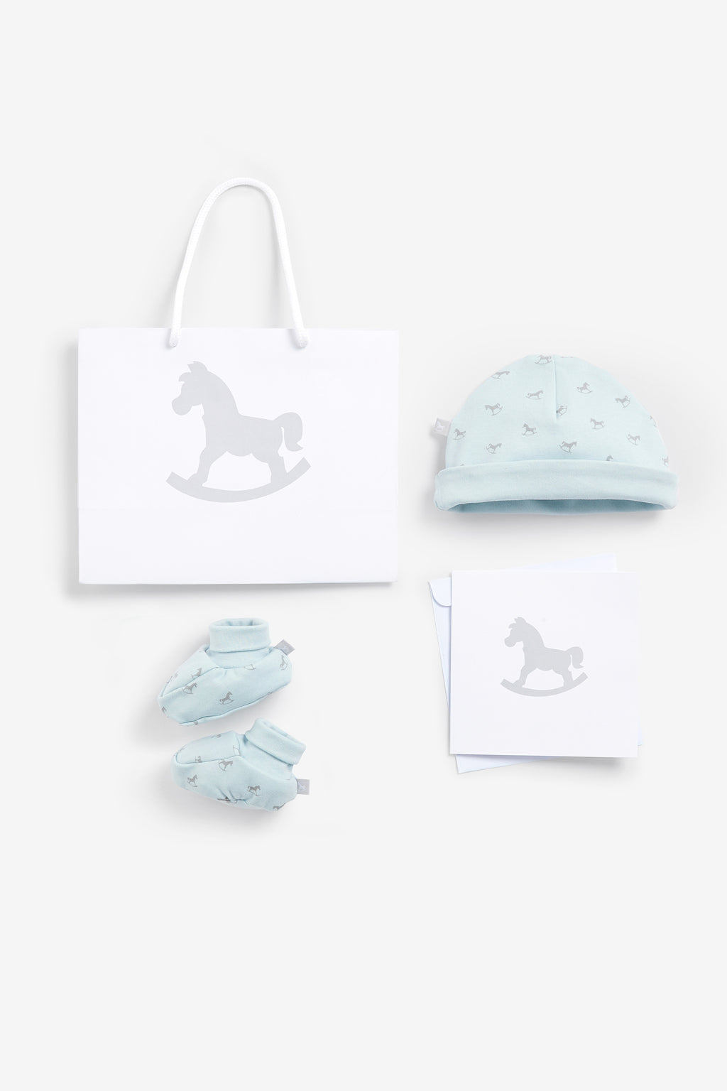 Luxury Bag, Card, Hat and Booties set Blue