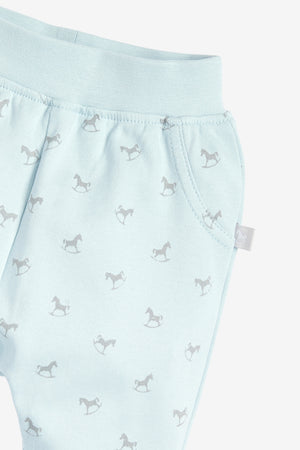 Comfy Rocking Horse Print Pant - blue