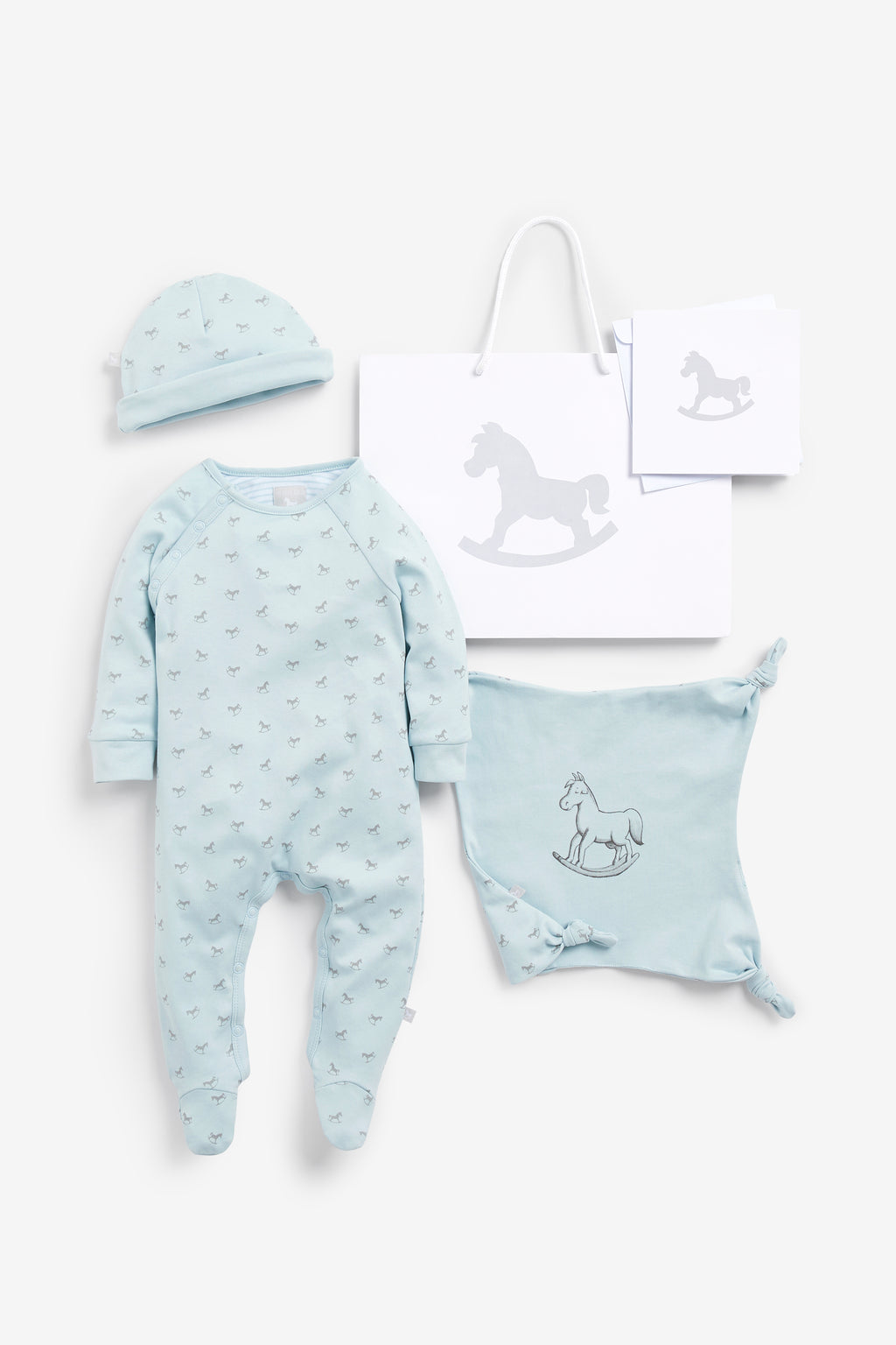 Super Soft Jersey Sleep Suit, Hat And Comforter Gift Set- blue