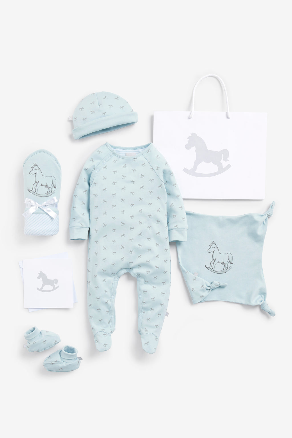 Super Soft Jersey Sleep Suit, Hat, Blanket, Comforter And Booties Gift Set - blue