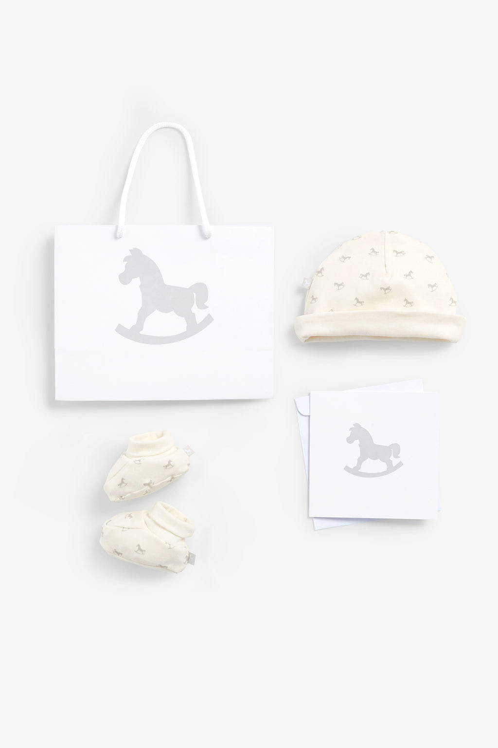 Luxury Bag, Card, Hat and Booties set Cream