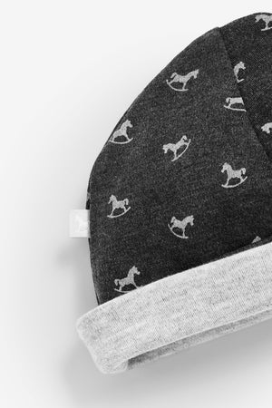 Rocking Horse Hat - charcoal and grey marl