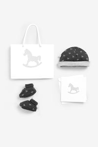 Luxury Bag, Card, Hat and Booties set Charcoal and grey marl