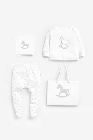 Top And Pant Set, Luxury Bag and Card included - white