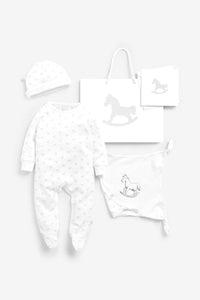 Super Soft Jersey Sleep Suit, Hat And Comforter Gift Set- white