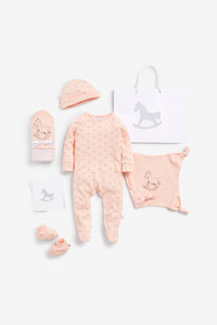 Super Soft Jersey Sleep Suit, Hat, Blanket, Comforter And Booties Gift Set - pink