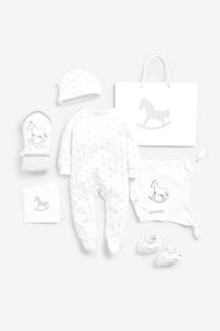 Super Soft Jersey Sleep Suit, Hat, Blanket, Comforter And Booties Gift Set - white