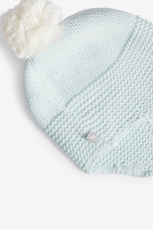 Blue Trapper Hat with Pom Pom