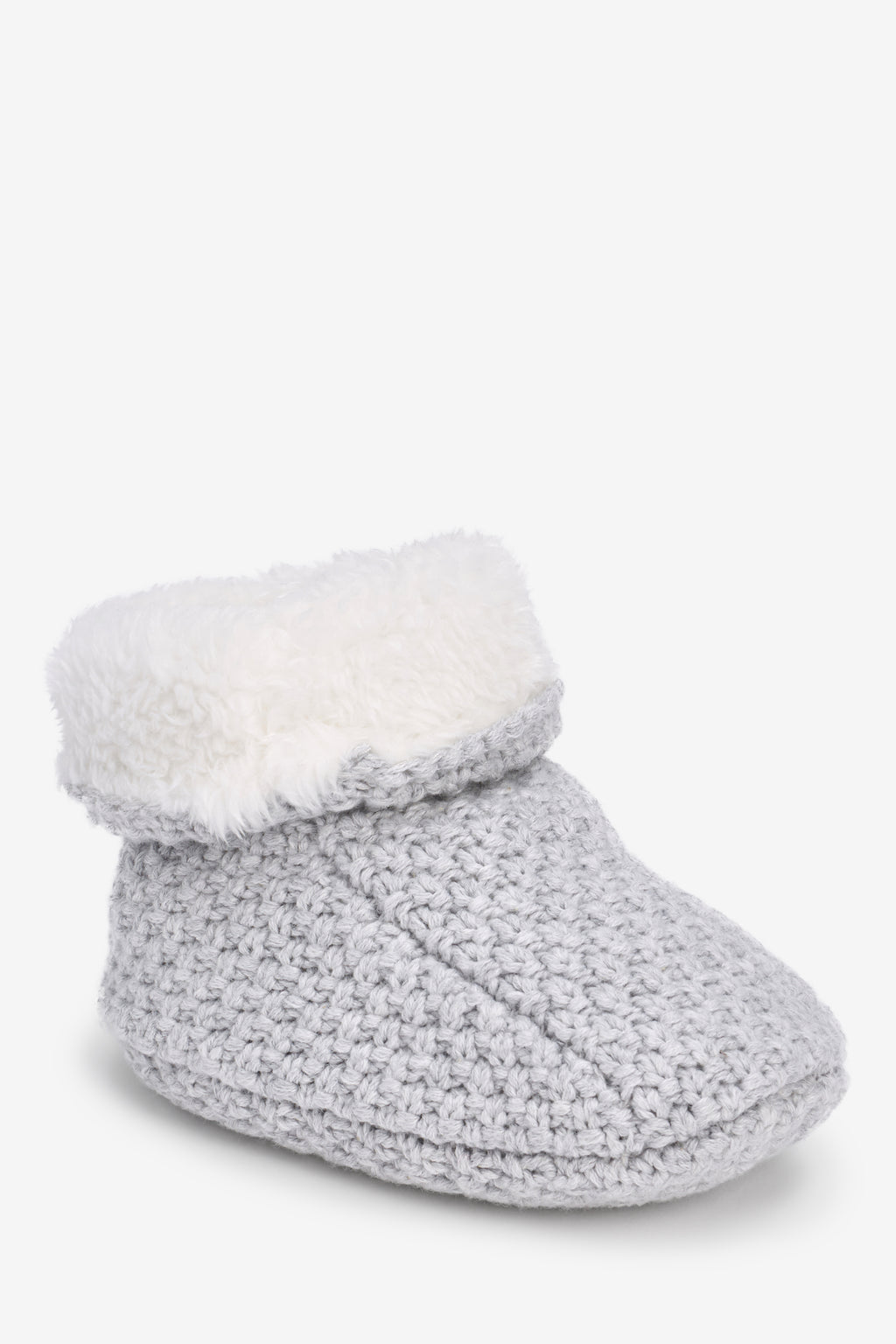 Grey Knitted Plush Lined Booties