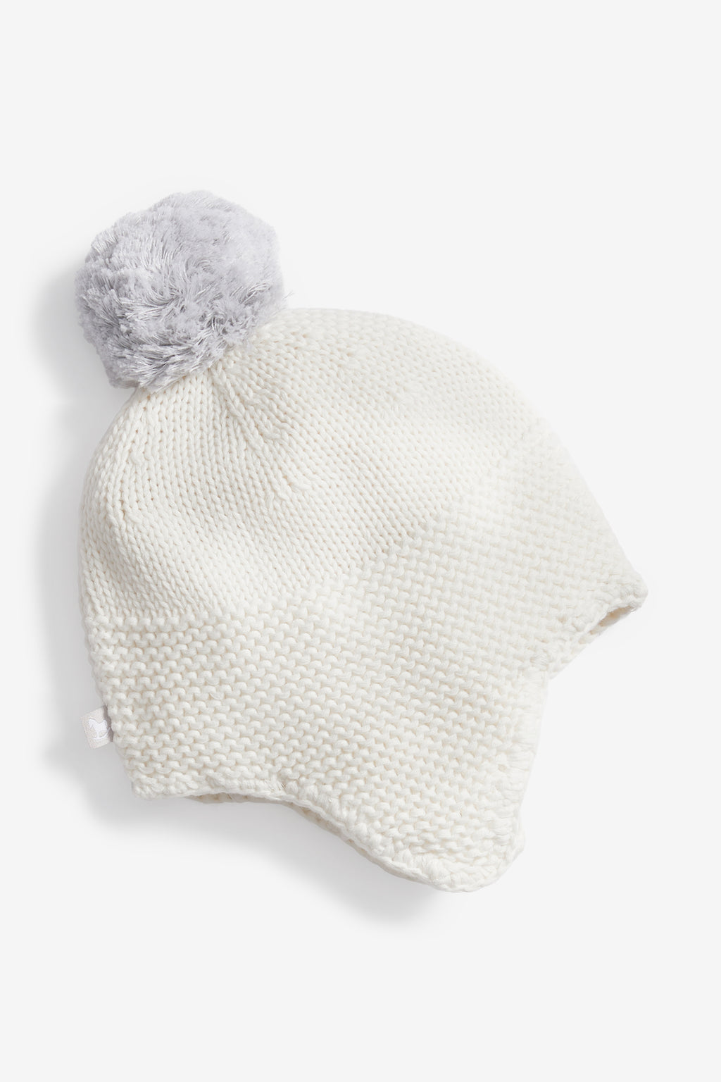 Cream Trapper Hat with Pom Pom