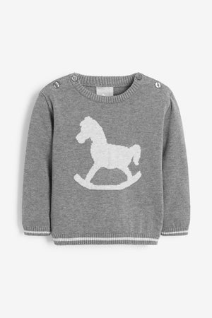 Charcoal Cotton Rocking Horse Jumper