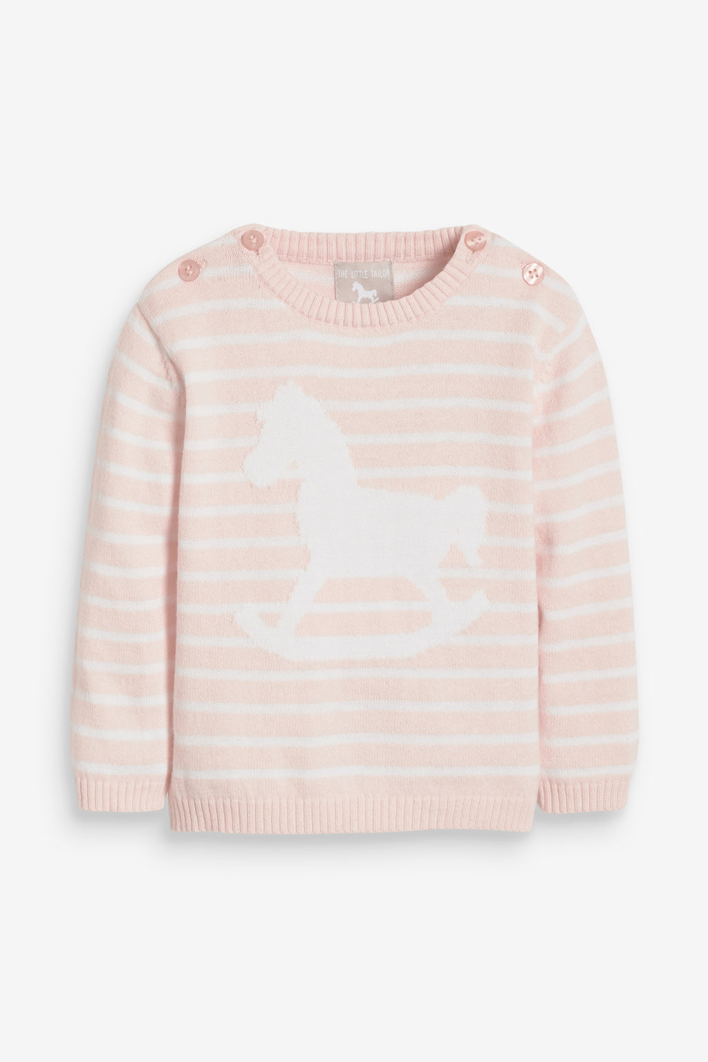 Rocking Horse Stripey Jumper - pink and white