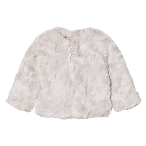 Girls Faux Fur Jacket Silver
