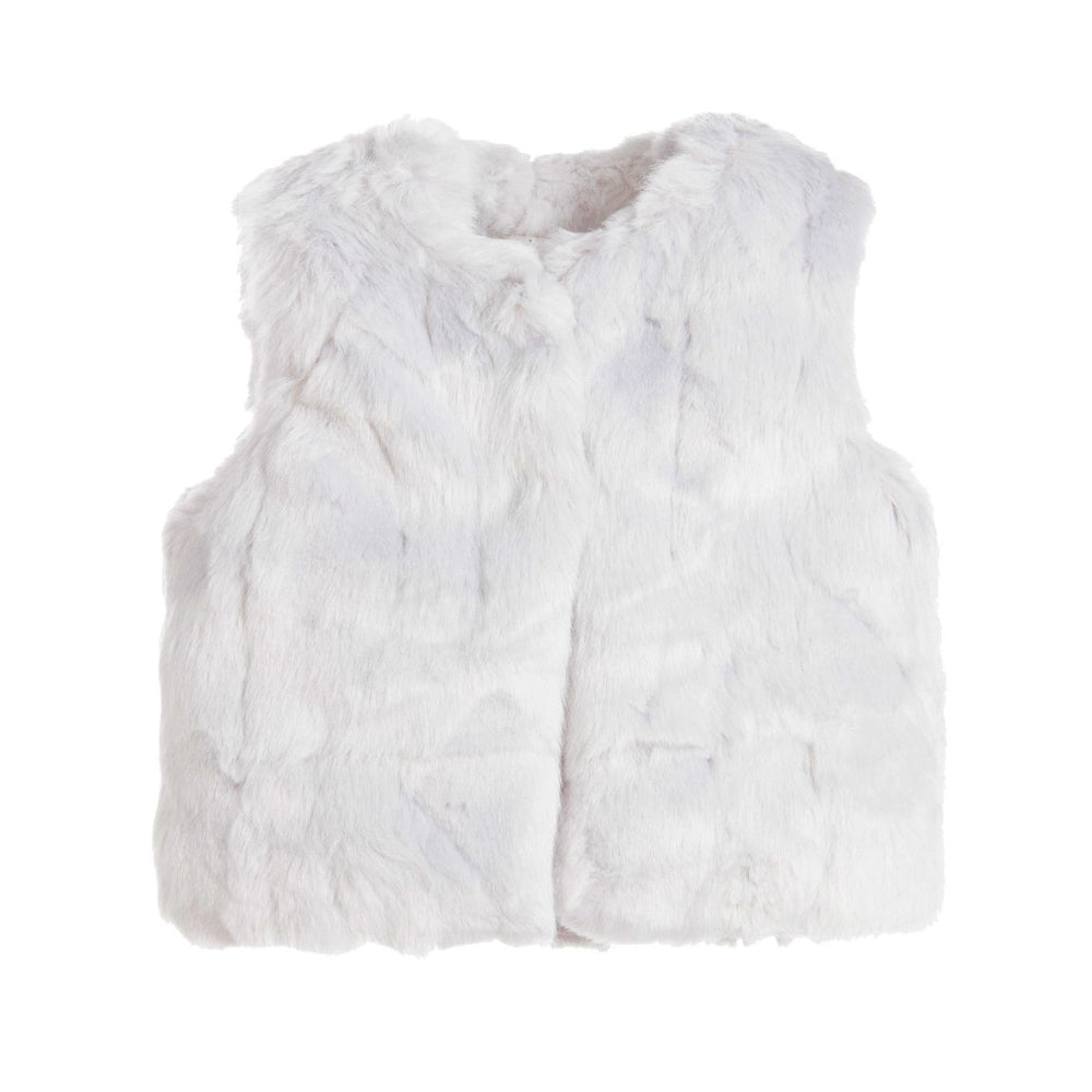 Girls Faux Fur Gilet Silver