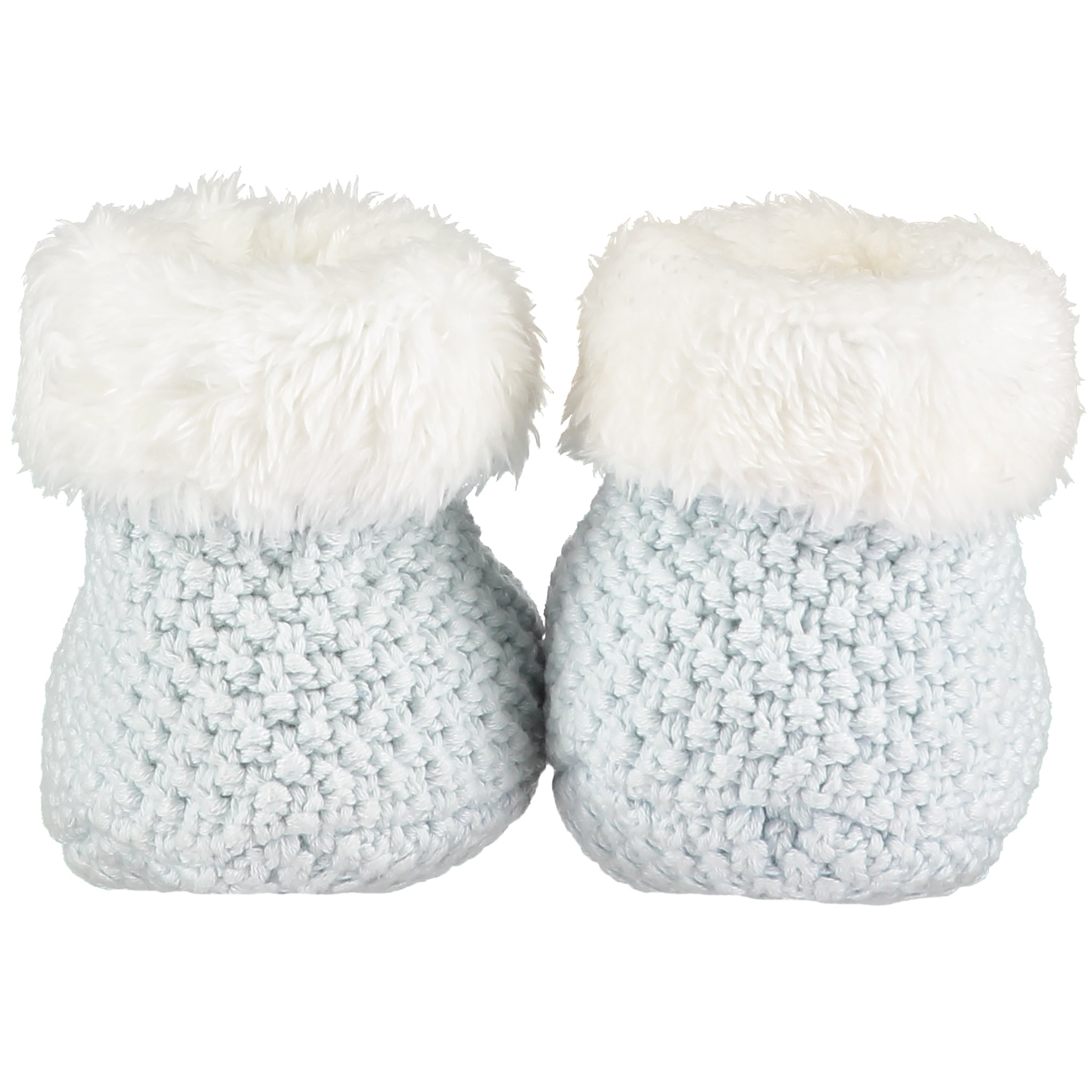Soft Blue Knitted Plush Lined Booties