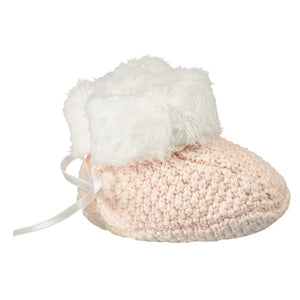Soft Pink Knitted Plush Lined Booties