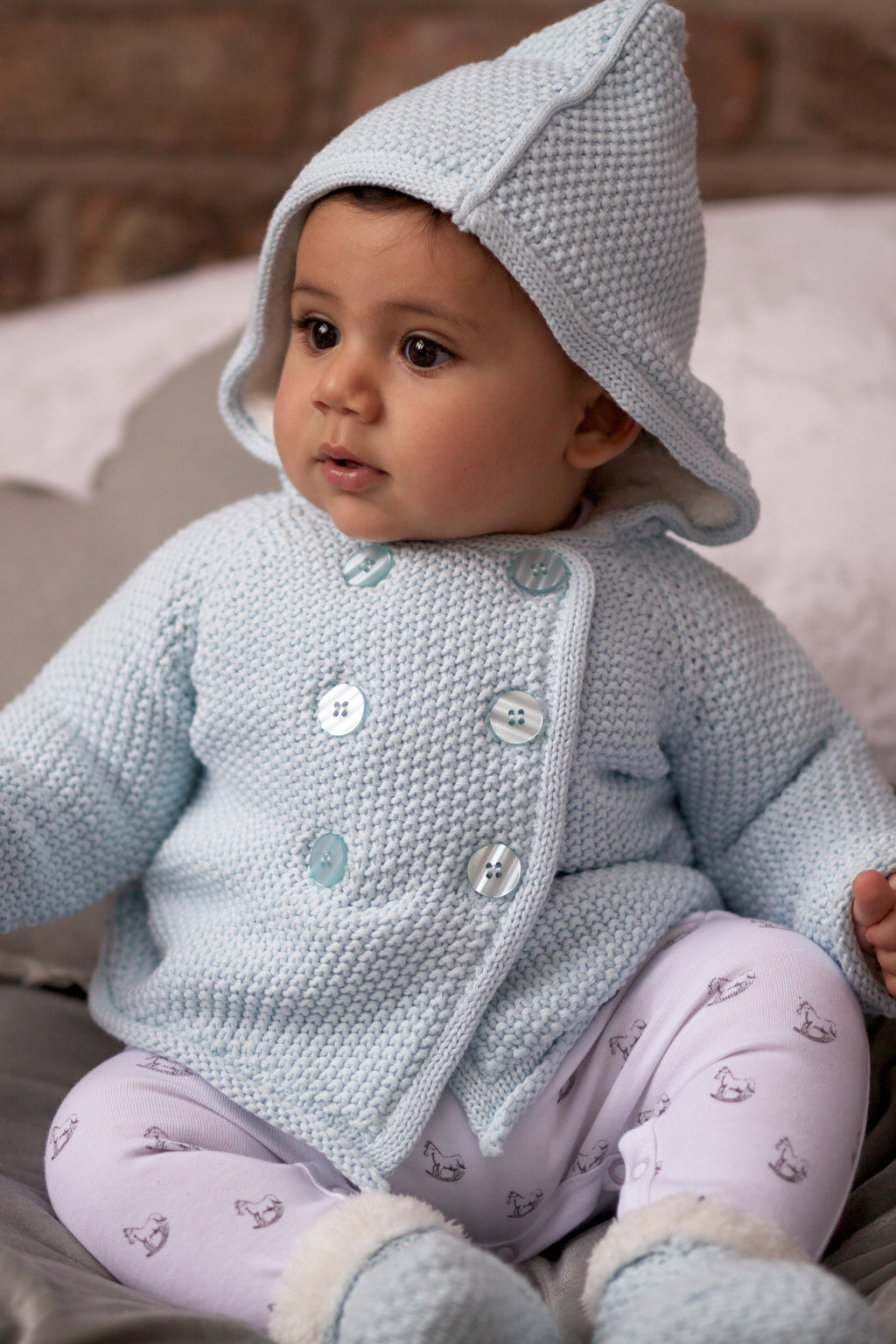 Soft Blue Pram Coat Plush Lined