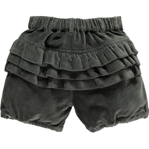 Girls Frill Bum Velvet Bloomers Charcoal