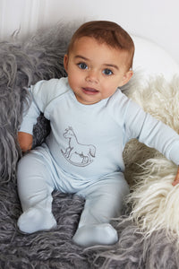 Super Soft Jersey Chest Print Sleepsuit - blue