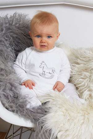 Super Soft Jersey Chest Print Sleepsuit - white