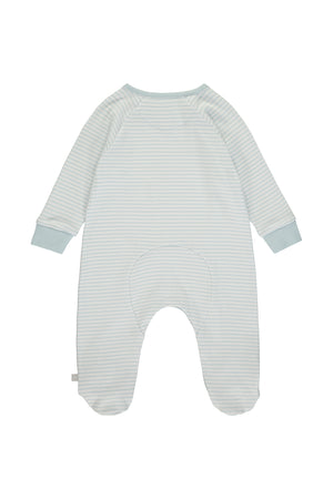Super Soft Jersey Stripe Chest Print Sleepsuit - blue