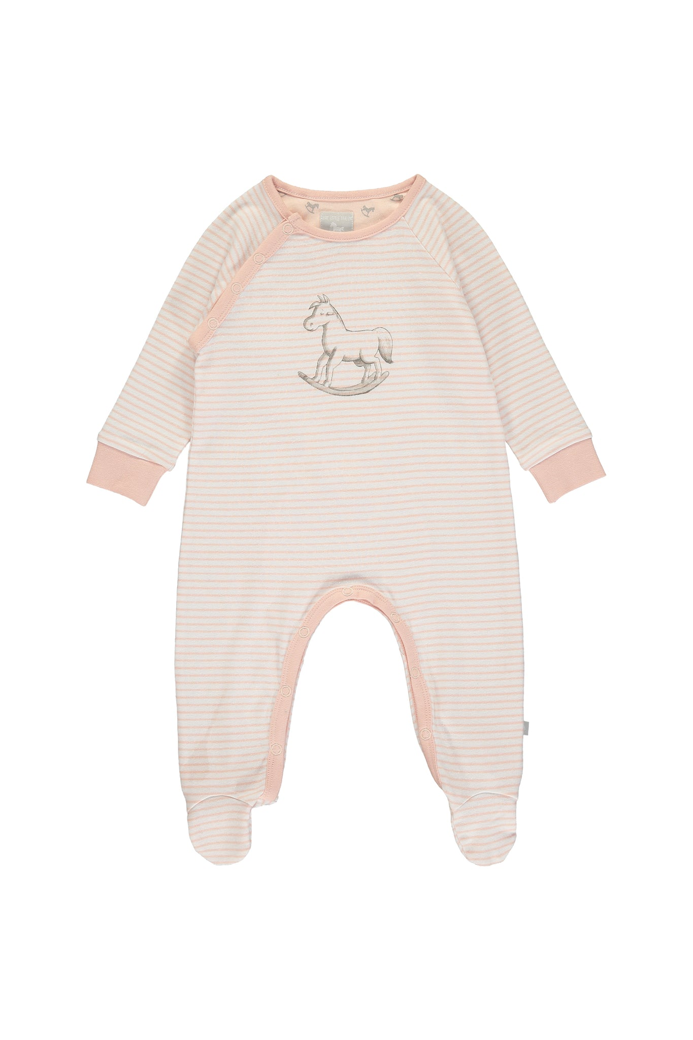 Super Soft Jersey Stripe Chest Print Sleepsuit - pink