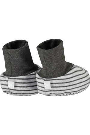 2 Pack Soft Jersey Baby Booties - charcoal and grey marl