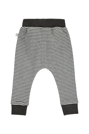 Comfy Stripey Print Pant - charcoal and grey marl