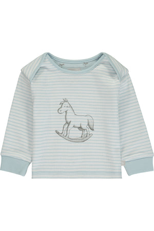 Super Soft Jersey Striped Rocking Horse Top - blue